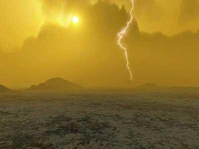 تصوری خیالی از سطح زهره که طوفانهای آذرخش و آتشفشانی را در دوردست نشان می دهد.