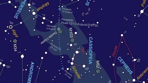 نقشه مسیر کانون بارش شهابی برساوشی