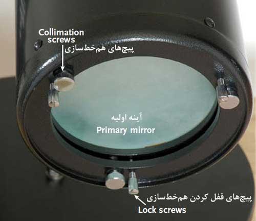 پیچهای پشت محفظه نگهدارنده آینه اولیه در همخطسازی آسان تلسکوپ