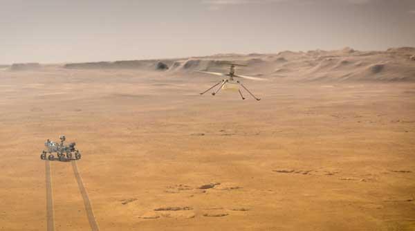 نمای خیالی از پرواز نبوغ در مریخ